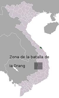 Mapa de la Batalla de Ia Drang, Vietnam del Sur, 1965
