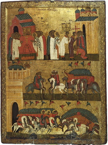 Интересная икона Чудо от образа Богоматери Знамение