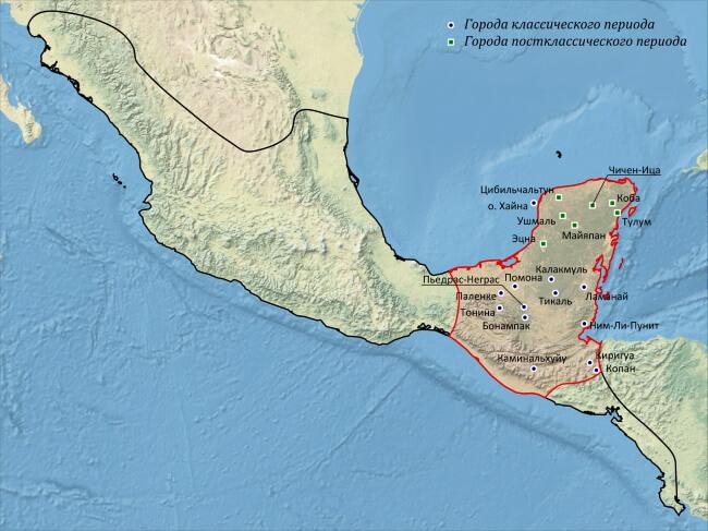 Местонахождение цивилизации майя