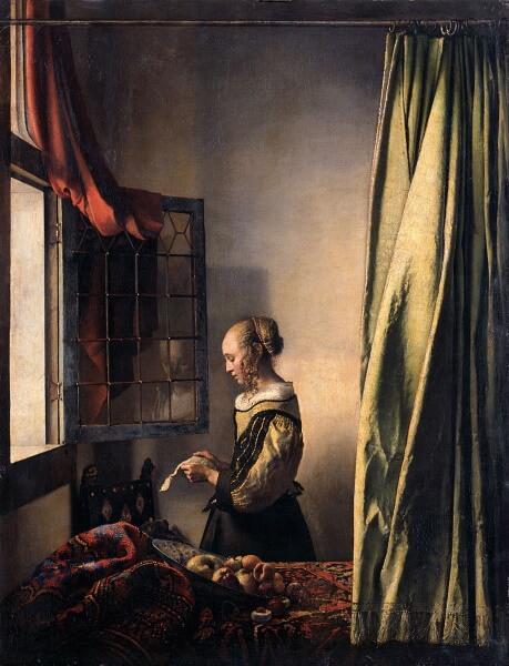 Девушка, читающая письмо у открытого окна