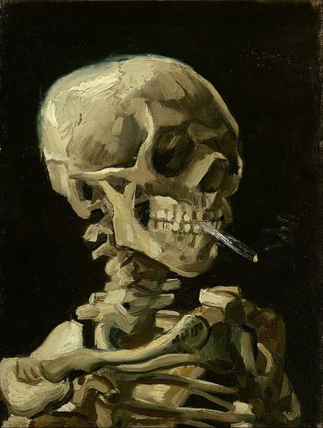 Череп с горящей сигаретой